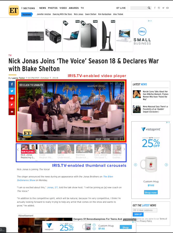 Article Page with IRIS.TV enabled Video player and carousels - highlighted caption